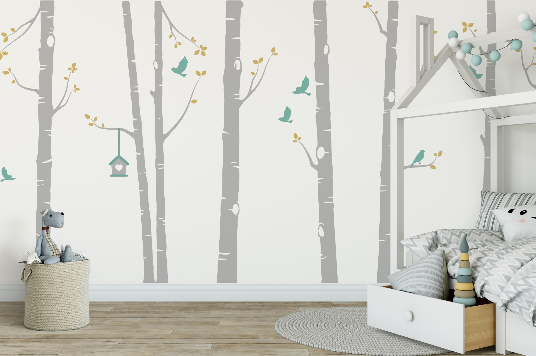 How To Remove Stickers From Car Window >> Birch Tree Wall Stickers | Birch Tree with Birds and Bird House