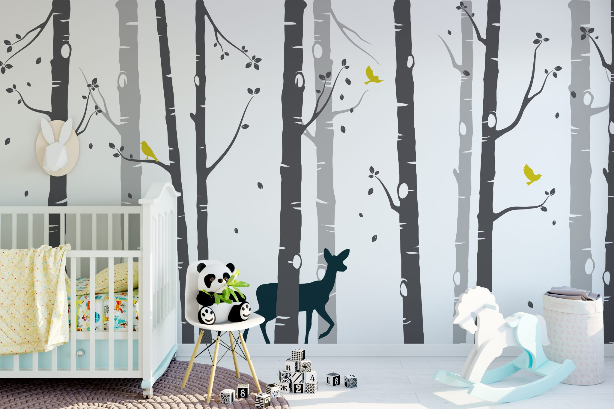 Large Set Birch Tree With Deer Wall Sticker Grey Tree