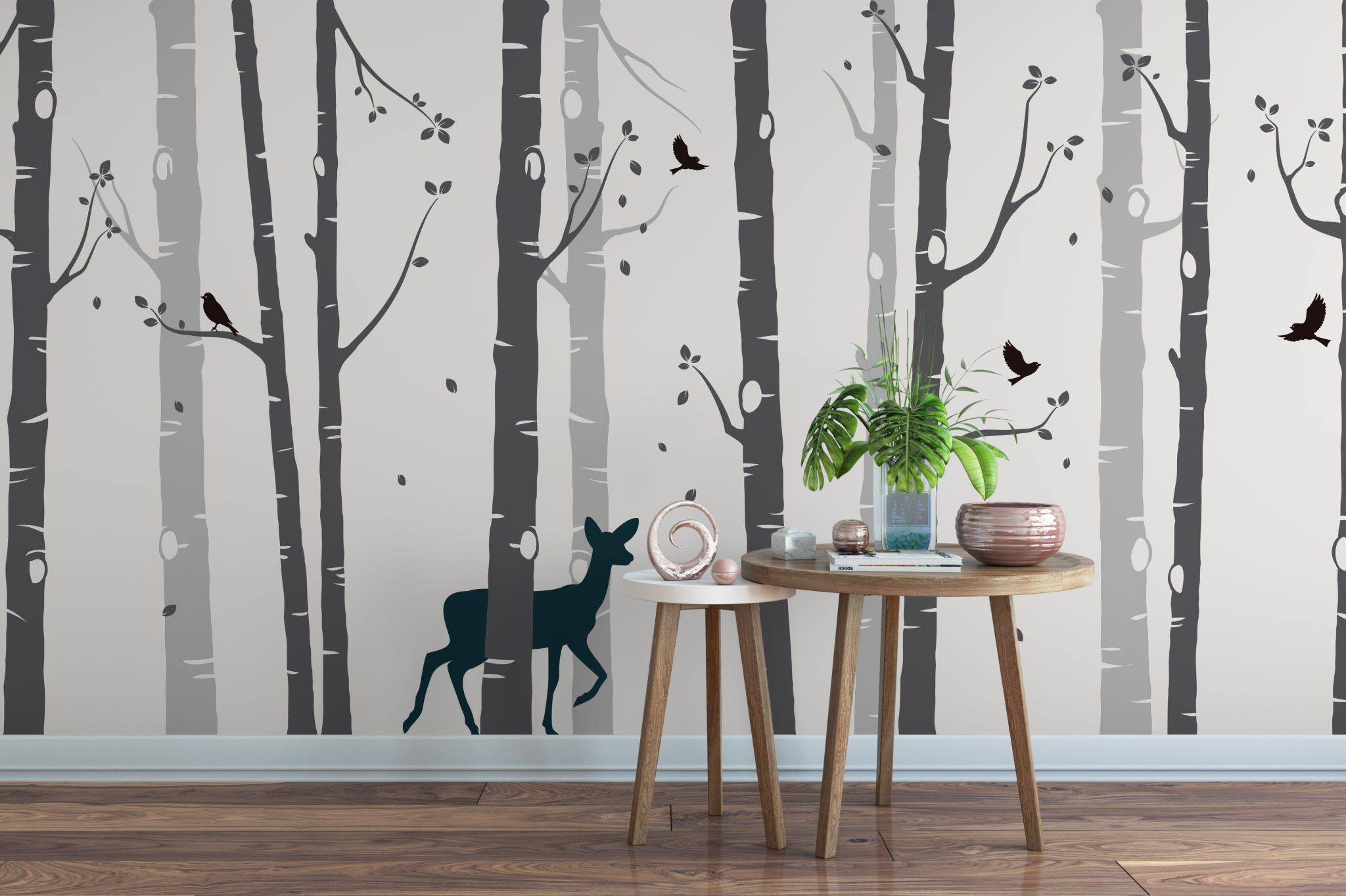 Large Set Birch Tree With Deer Wall Sticker Grey Tree Wall Sticker