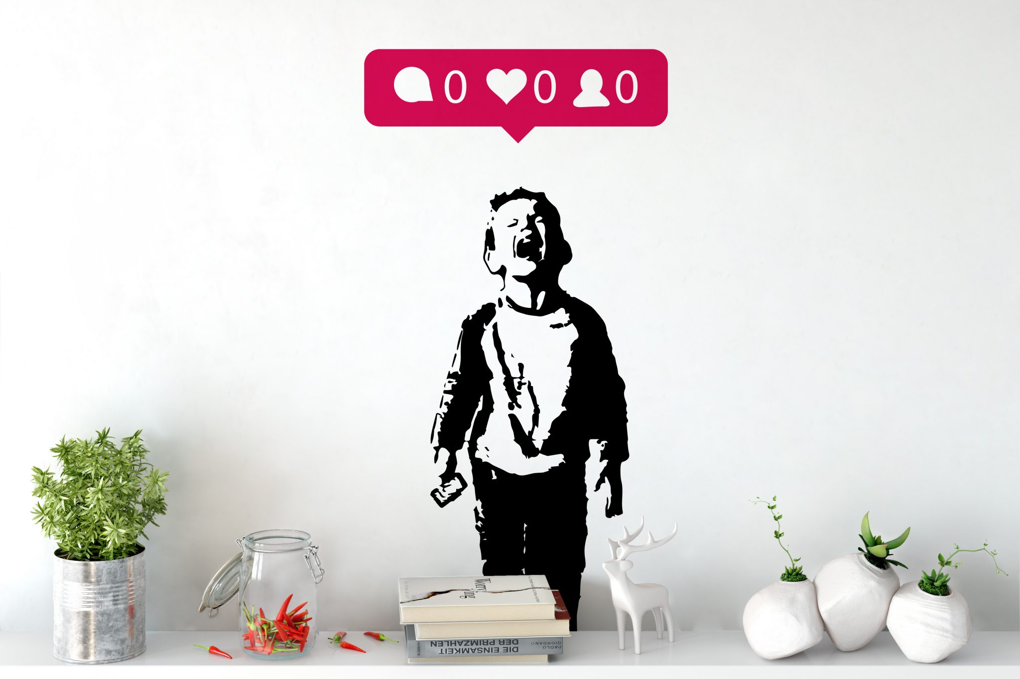 iHeart Nobody Likes Me Wall Sticker | Banksy Wall Stickers 40 Colours