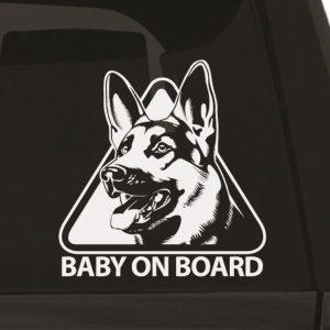 Baby on Board Dog Car Sticker 1e-01 Wall Sticker