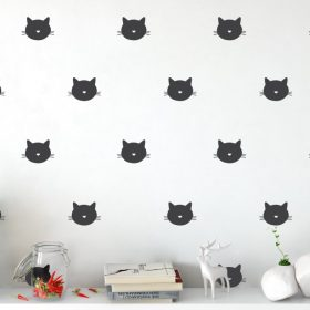 Cat Face Wall Pattern 1c Wall Sticker