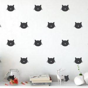Cat Face Wall Pattern 1c Wall Sticker