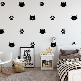 Cat Face and Wall Pattern 1a Wall Sticker