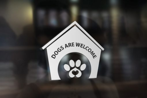 Dogs are welcome window decal
