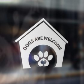 Dogs welcome sticker