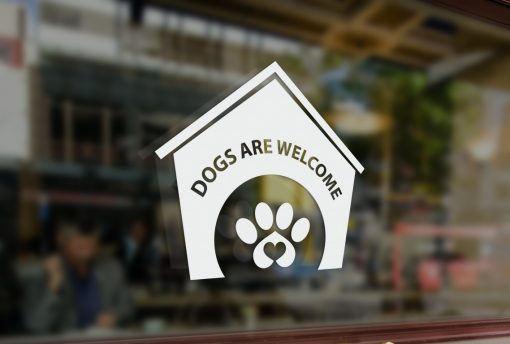 Dogs welcome window decal