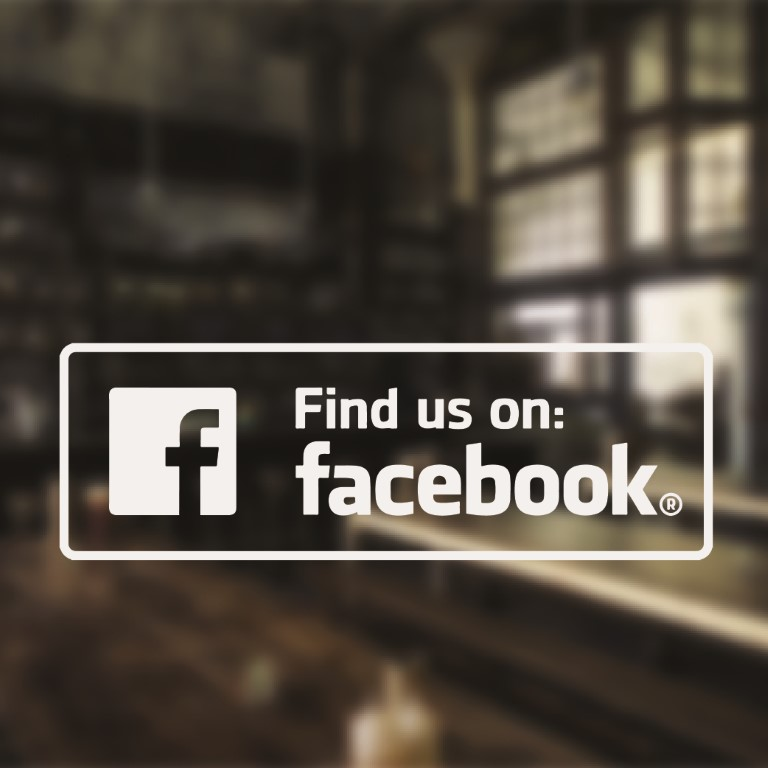 Find Us On Facebook Sticker Find Us On Facebook Sign