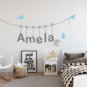 Girls Name on String 3d Wall Sticker