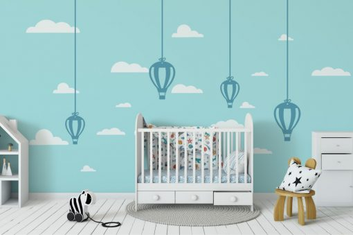 Hanging Hot Air Balloons 1a Wall Sticker