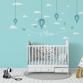 Hanging Hot Air Balloons and Name 1a Wall Sticker