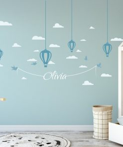 Hanging Hot Air Balloons and Name 1b Wall Sticker