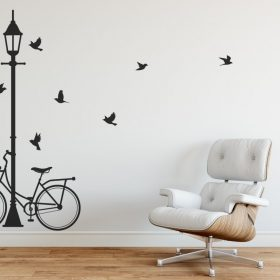 Lamp post wall sticker street light and bike wall sticker