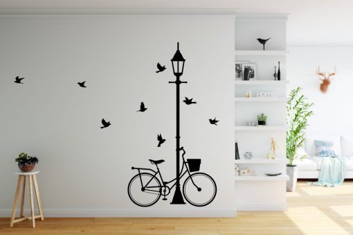 lamp post and bike wall sticker