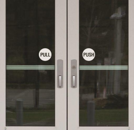 push pull door window sticker