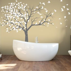 Tree blowing to birds 1b Wall Sticker