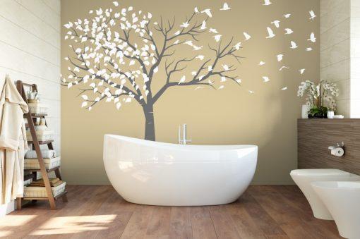 Tree blowing to birds 1b Wall Sticker