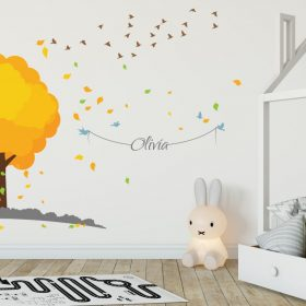 Tree with flock of birds 1 Wall Sticker