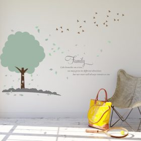 Tree with flock of birds 1j Wall Sticker