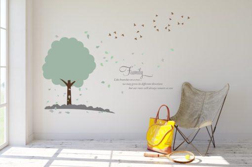 Tree with flock of birds 1j Wall Sticker