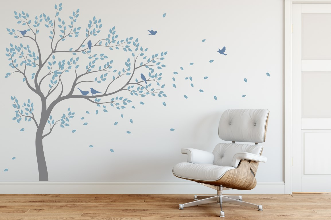 blowing tree wall sticker