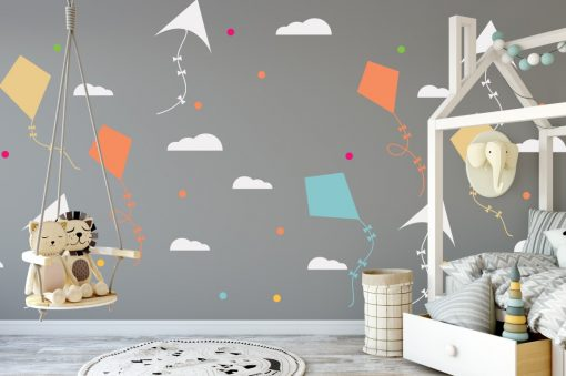 kites and clouds wall sticker