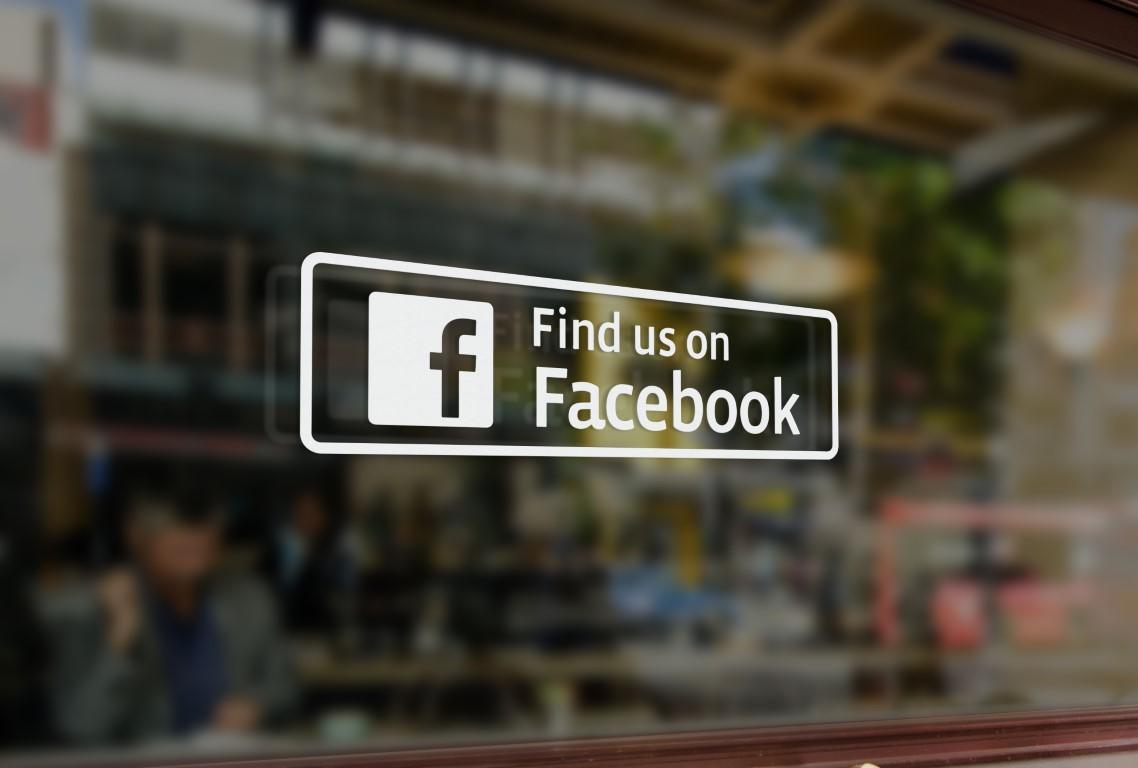 Find Us On Facebook Sticker Find Us On Facebook Sign