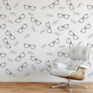 glasses wall pattern 1b Wall Sticker