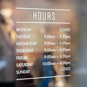 Opening Hours Sign - Opening Times Sign