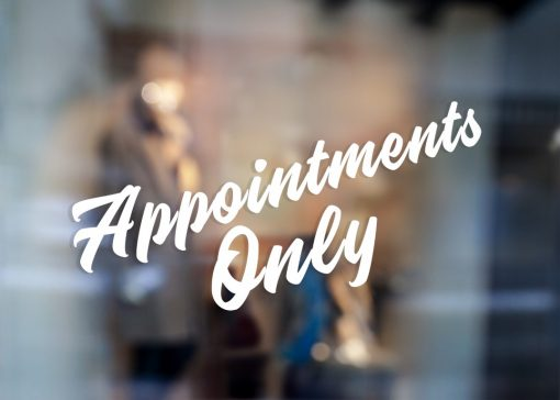 Appointments Only Sign-window sticker decal