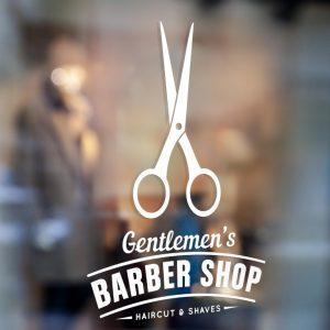 Barber Shop Sign 1e-window sticker decal