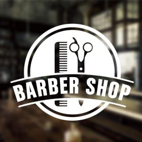 Barber Sign Pole Barber shop window decal sign sticker 1b