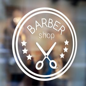 Barber Sign Pole - Barber shop window sign 1c