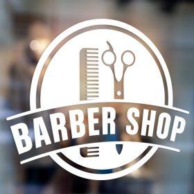 Barber Sign Pole - Barber shop window sign decal sticker 1b