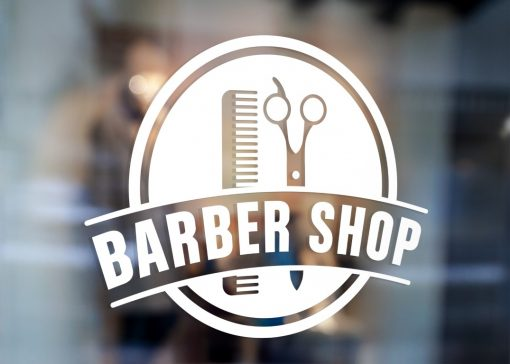 Barber Sign Pole - Barber shop window sign decal sticker 1b