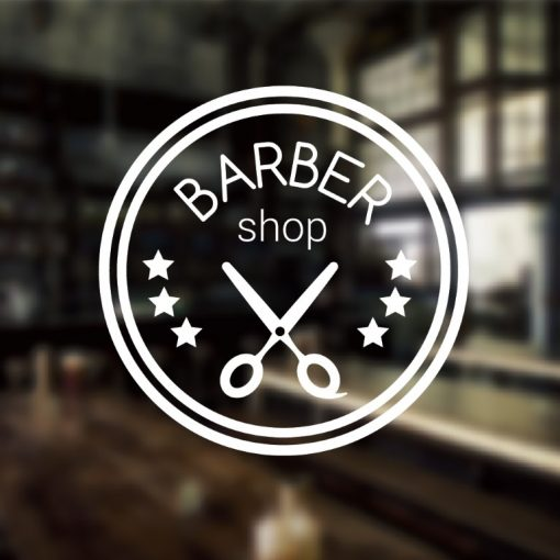 Barber Sign Pole - Barber shop window sign decal sticker 1c