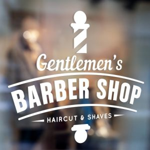 Barber Sign Pole - Barber shop window sign sticker decal 1a