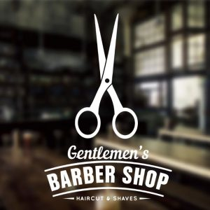 Barber Sign Pole - Barber shop window sign sticker decal 1e