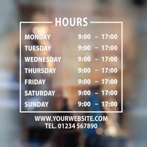 Business Hours Sign 1-01-window sticker decal