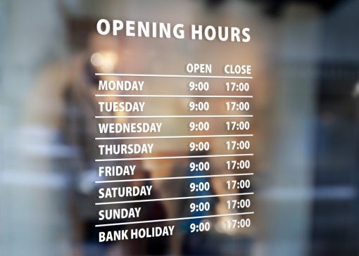 Business Hour Sign - window decal sign sticker