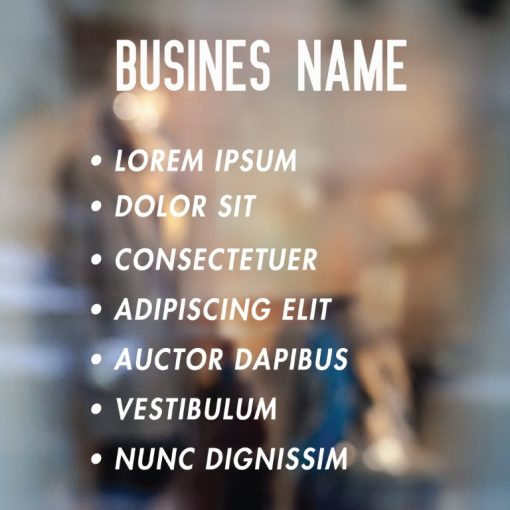 Business Name and List of Services sign 1-01-window sticker decal