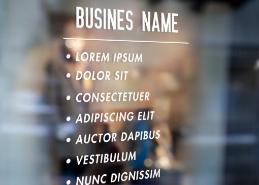 Business Name and List of Services window sticker decal sign 1