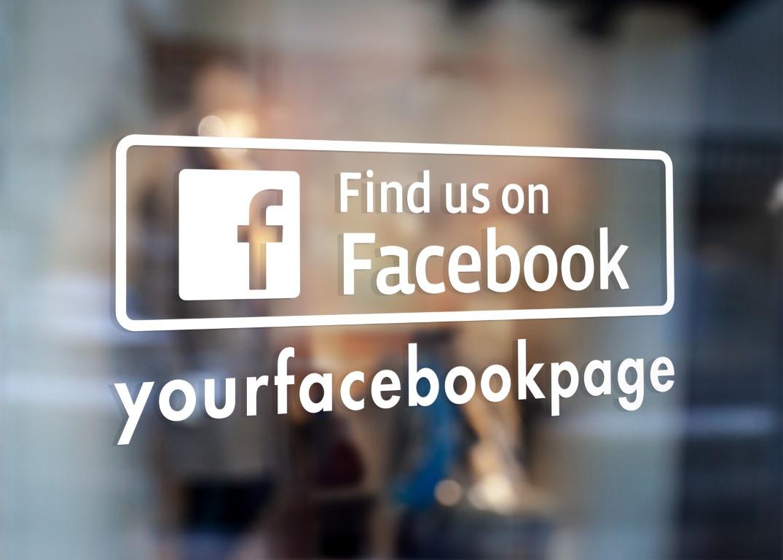 Find us on facebook custom sign window sticker decal