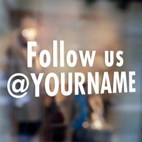 Follow us on Sign-window sticker decal