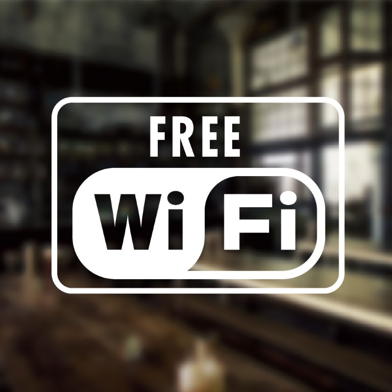Free Wifi Custom Vinyl Sign Sticker Restaurant Cafe