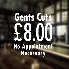 Gents Cuts Sign-01-Barber Sign Pole Barber shop window sign sticker decal