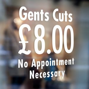 Gents Cuts Sign-Barber Sign Pole Barber shop window sign sticker decal