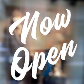 Now Open Sign-window sticker decal