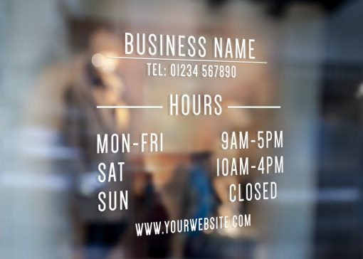 business hours sign 2-window sticker decal