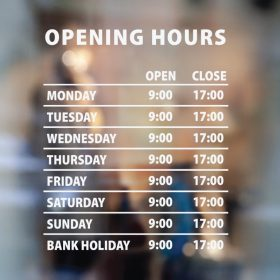 Business Hour Sign - window decal sign sticker 2